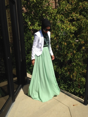Loving the mint colored maxi skirt!