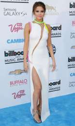 Selena Gomez in white Atelier Versace with neon details