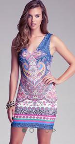 Paisley Scuba V-Neck Dress