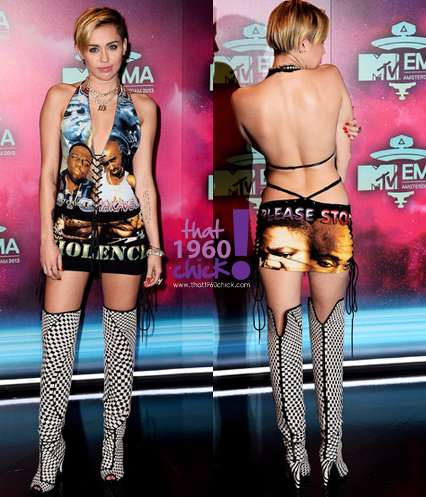 "Miley in a custom ""vintage"" Biggie and Tupac Dress"