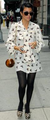Kourtney Kardashian in horse print dress
